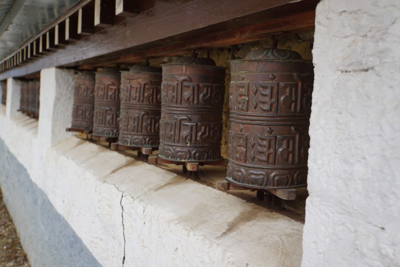 Prayer wheels at the Sherpa museum.