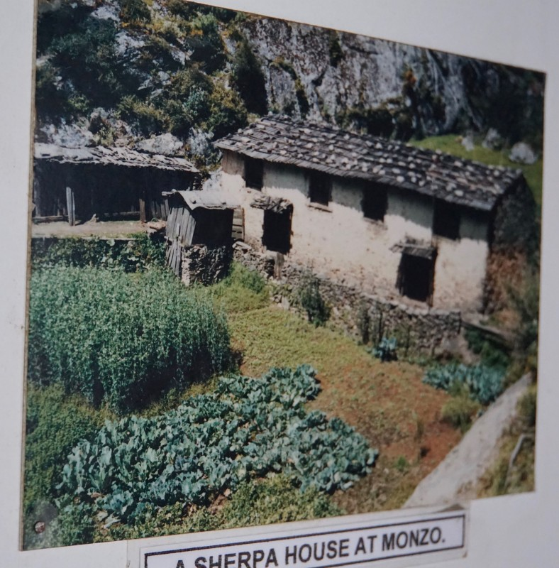 This home in Monjo, displayed in a photo in the Sherpa museum, was the same ruined one we passed on the trail the day before.