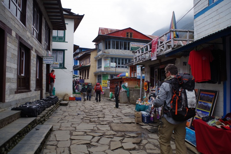 Walking down the main drag of Lukla.
