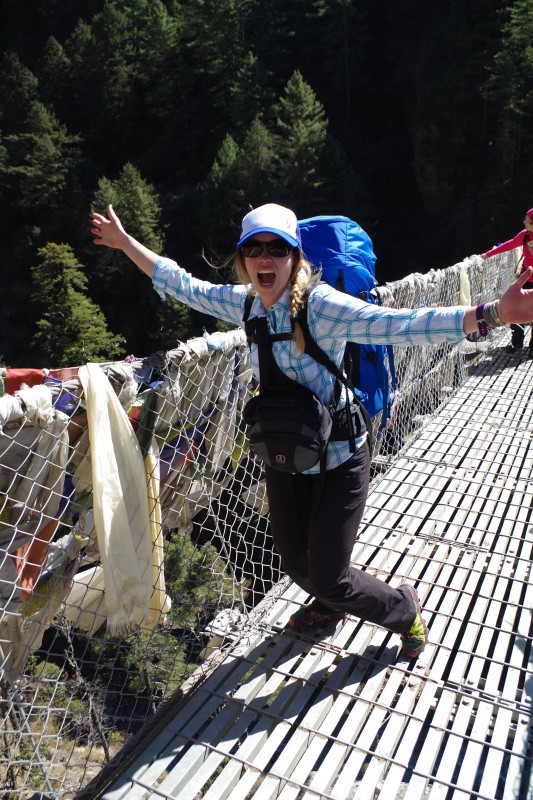 Kim negotiates the upper bridge with the greatest of ease. (Photo: Kim Hess)