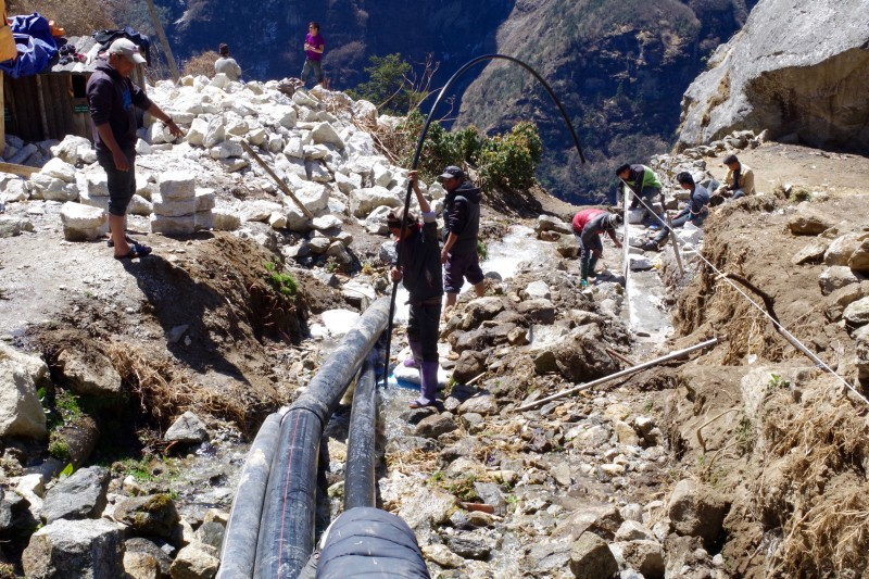 Robust infrastructure work all over Namche, a very good sign. (Photo: Kim Hess)