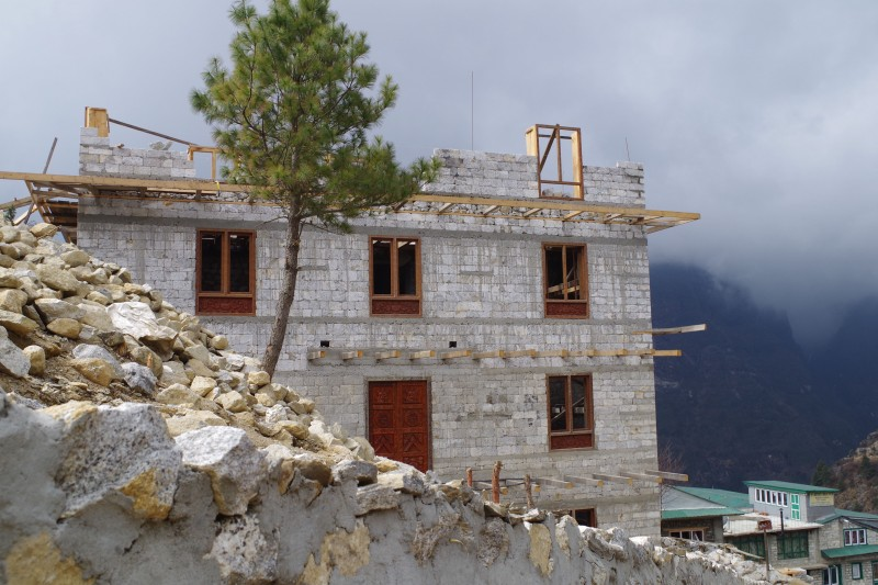 New construction on the slopes of Namche.  (Photo: Kim Hess)
