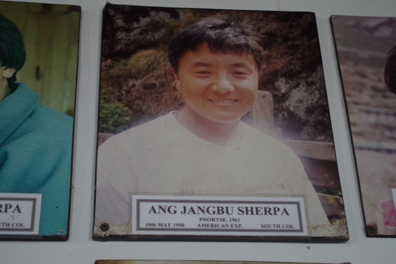 Ang Jangbu Sherpa, our co-leader of the expedition, in his rightful place on the wall of fame.