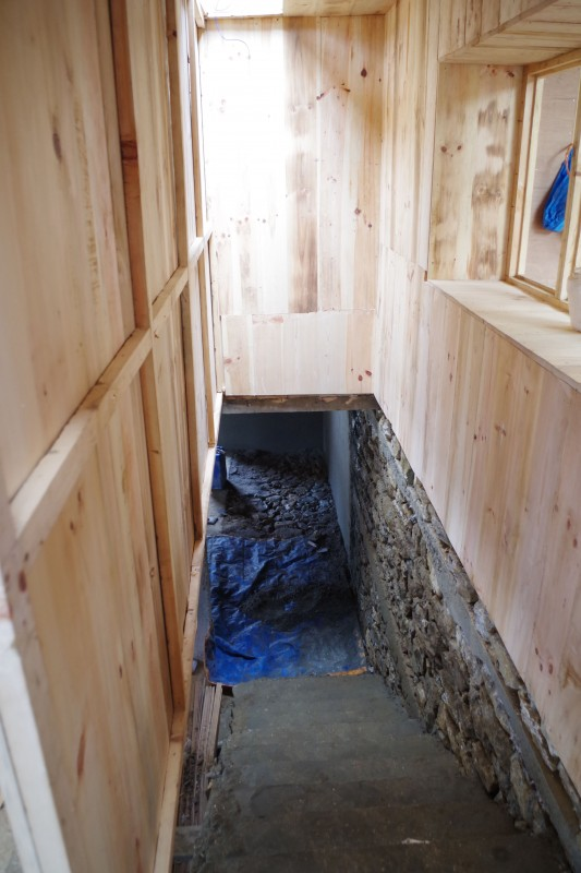 The stairway leading up from the basement to the clinical area of the practice.