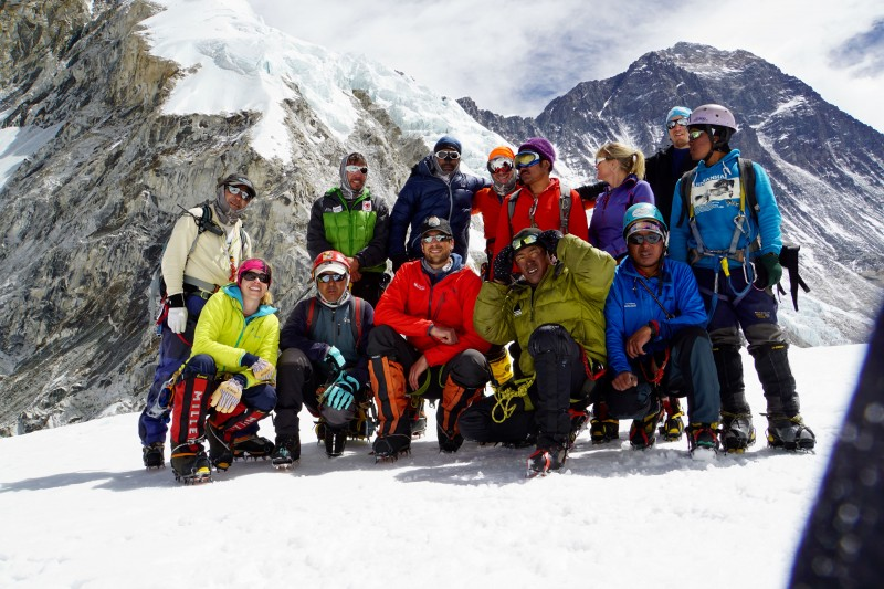 Self-timed group photo from Nuptse Corner.