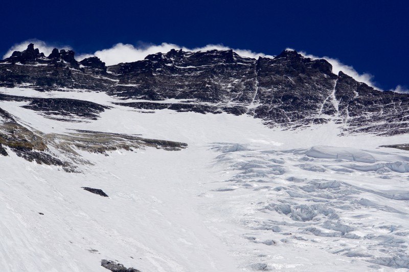 Telephoto of Lhotse summit, also with some of the Face... our Camp 3 will probably lie where the ruffled snow meets the smooth ice at mid-photo.