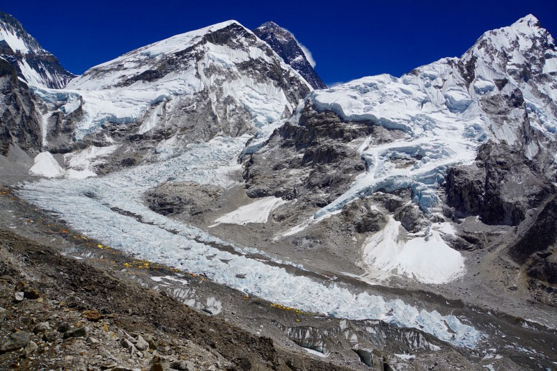 A bigger view of the Everest massif. Can you see EBC on the near side of the Khumbu Glacier?