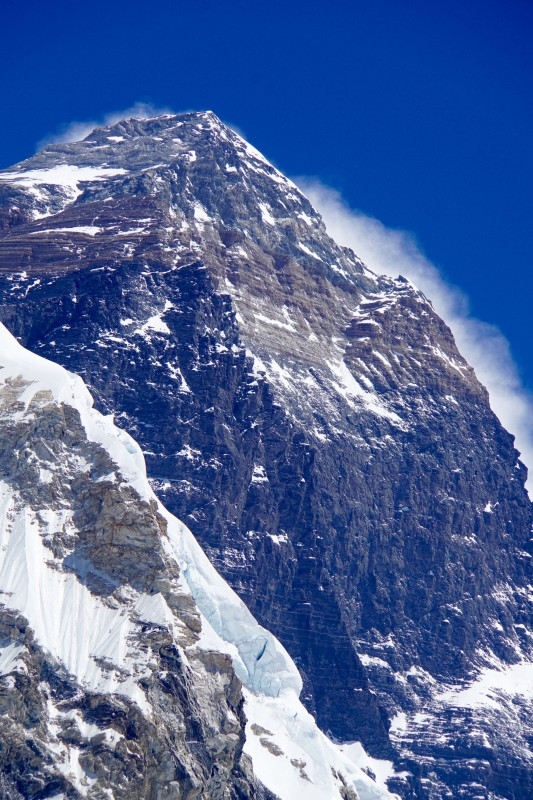 This shot of Everest shows a bit more of the steep slope on the right we will climb on summit day.