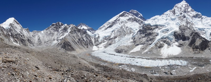 Panorama of the top of the Khumbu Valley.