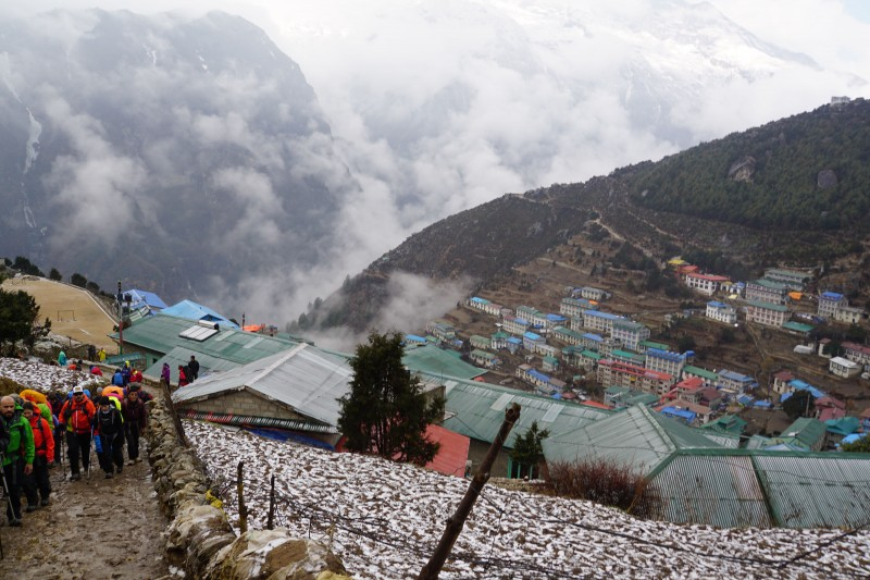 A frosty, wet, uncomfortable start to the morning in Namche.