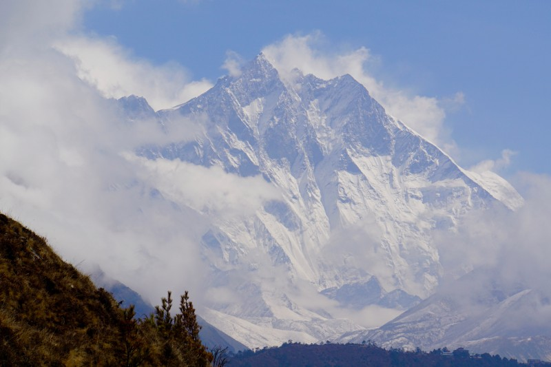 Lhotse emerges from cloud shroud.