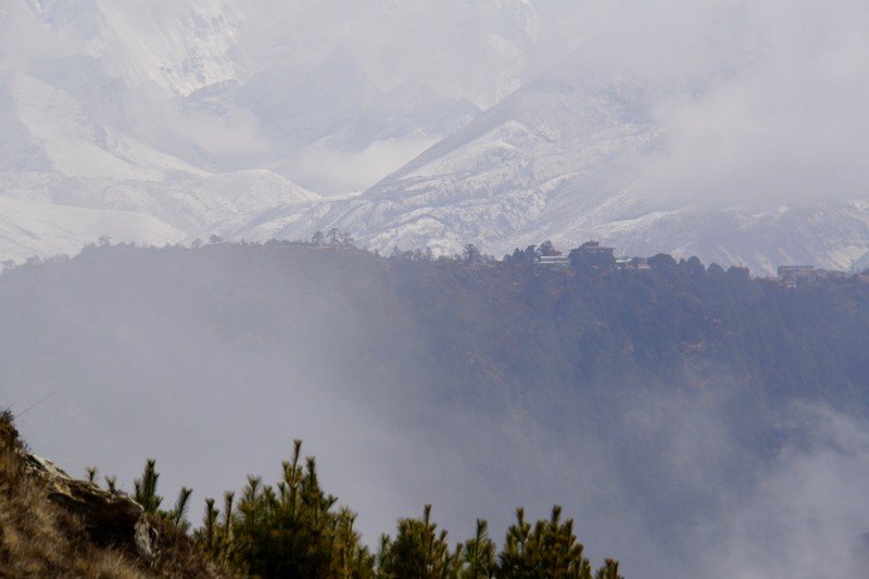 Our objective, Tengboche, seen on the ridge top at center of the screen.