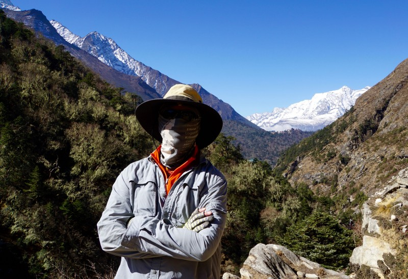 My garb is intended to protect me from the sun... but another benefit is that it hides my sadness as we approach Pangboche, while I think of my friend Gene Peterson.