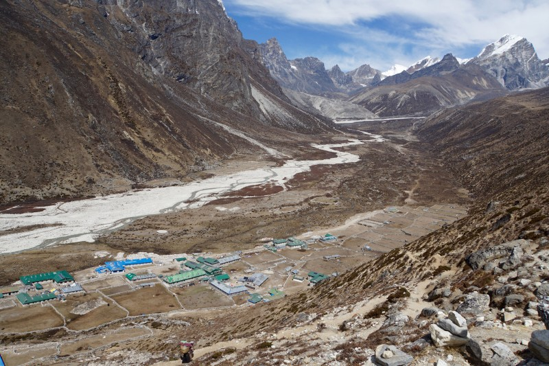 Pheriche looking down from the moraine, view up-valley towards Lobuche.