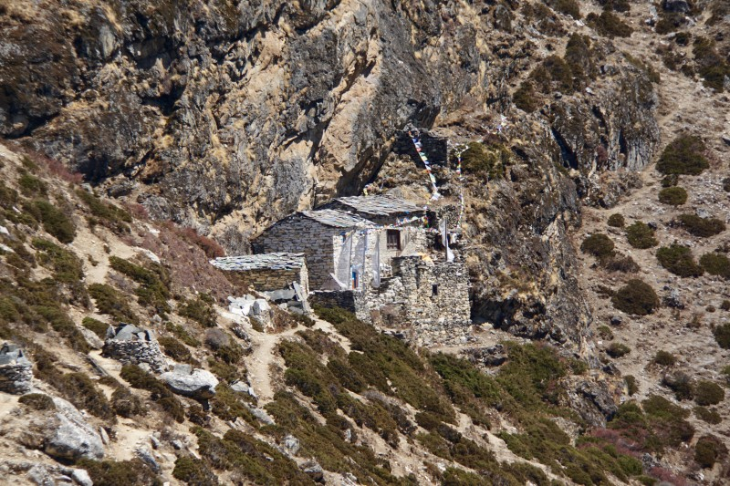 This homestead clings to a cliff over Dingboche.