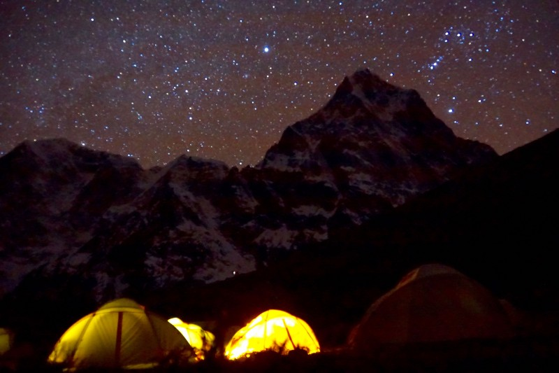 A lovely night to capture the stars above camp and Cholatse.