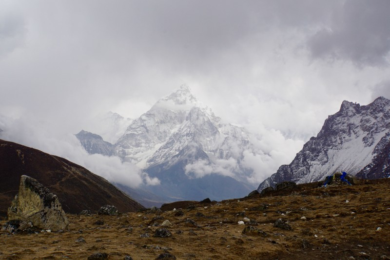 Ama Dablam becomes cloaked in the afternoon precip.
