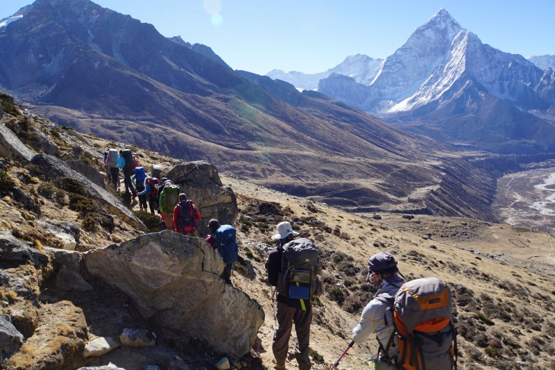 Rounding the corner from LBC, Ama Dablam comes into view.