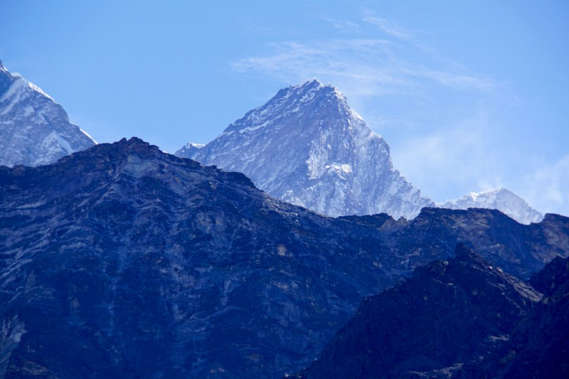 Lhotse towers in the distance.