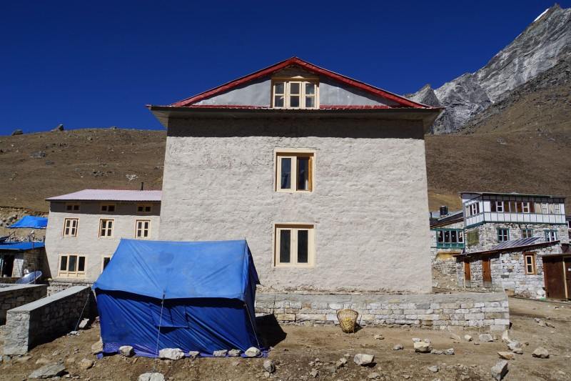 This inn at Lobuche town looks amazing after facade reconstruction.