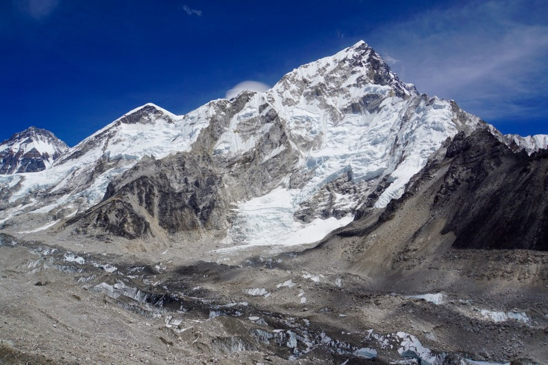 From left to right: Changtse, Everest West Shoulder, Everest Summit (with cloud cap), Nuptse.