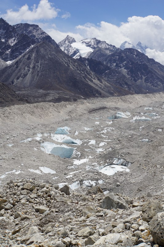 Looking down the Khumbu Glacier.  It is always covered in stones,but this is so different from last year, when everything was blanketed in white snow.