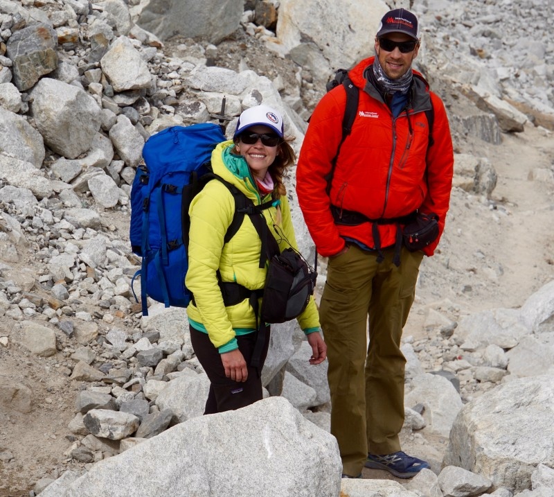 Kim and Justin at the bottom of the lateral moraine debris heap.  Just a few more minutes to EBC now!