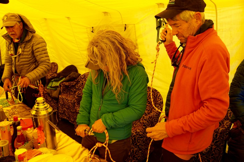 Getting our technical climbing gear rigged, checked, and double-checked from the luxury of the dining tent.  We will put this stuff to the test tomorrow in the glacier.