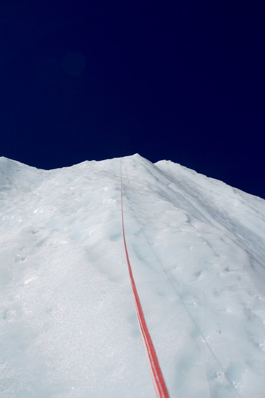 Our rappel route on the training circuit. About the same height as the 5-ladder section on the icefall last year.