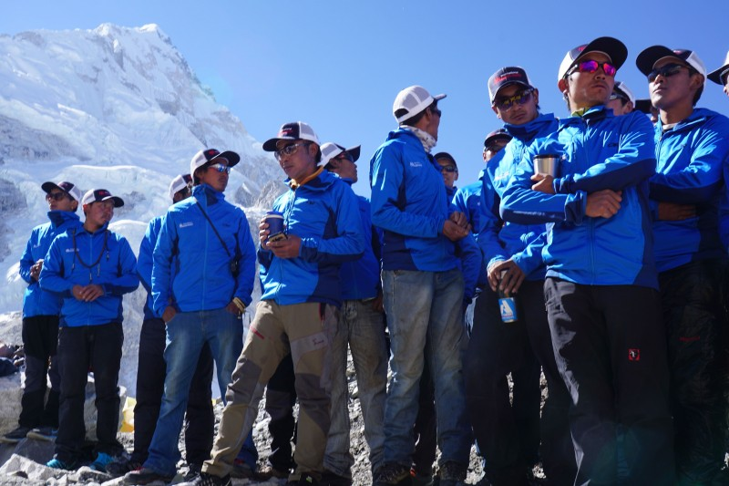The Sherpa working for IMG are all here... this ceremony is very important for them, as it is for all of us.