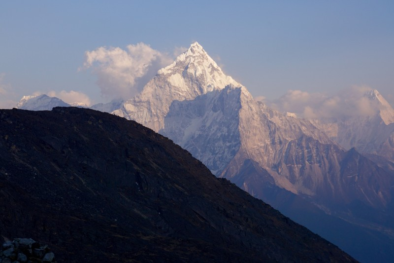Ama Dablam bids us good night as we nod off....