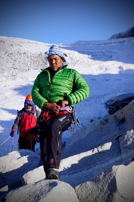 Tashi Sherpa at crampon point. Awesome leadership and climbing skills.