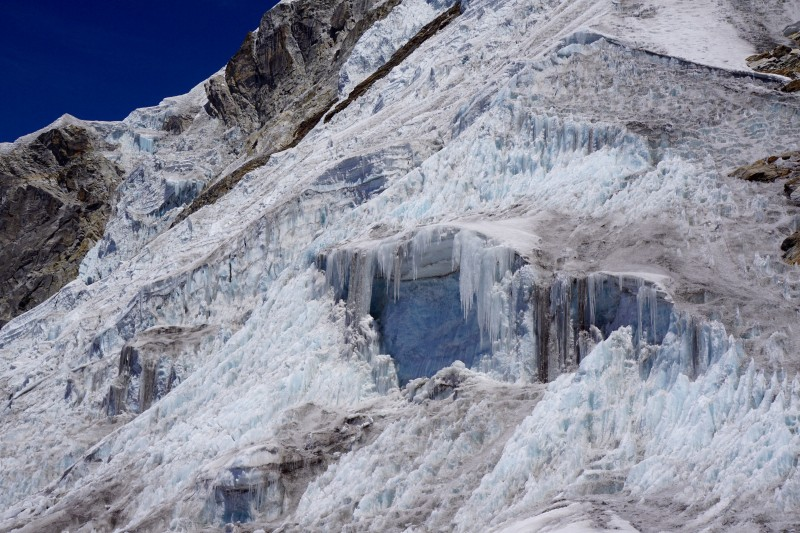 Fearsome ice of the upper mountain.