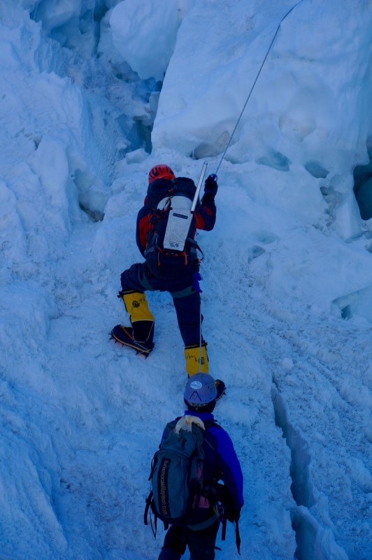 Me and Ang Pemba heading up some steep ice. (Photo: Justin Merle)