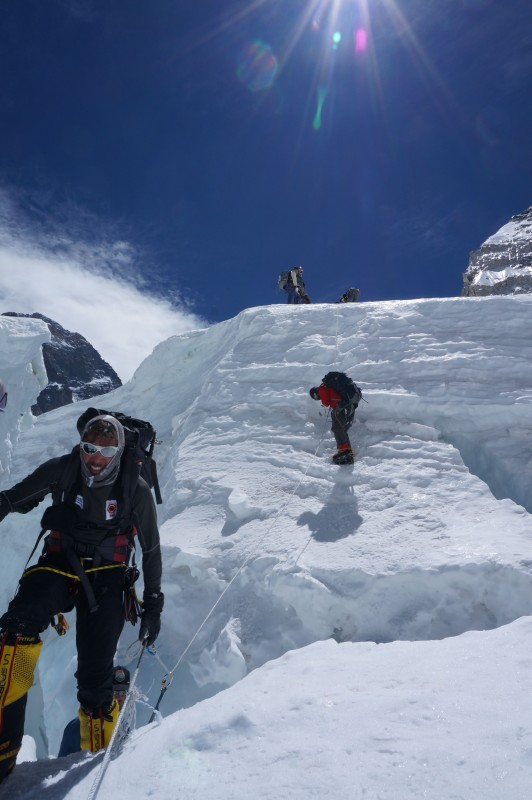 Cristiano hauls himself out of the crevasse after rapping the roller. (Photo: Justin Merle)