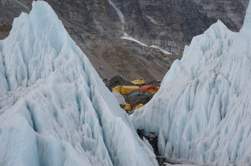 Looking back at EBC from the ice climbing area on the Khumbu Glacier. (Photo: Justin Merle)
