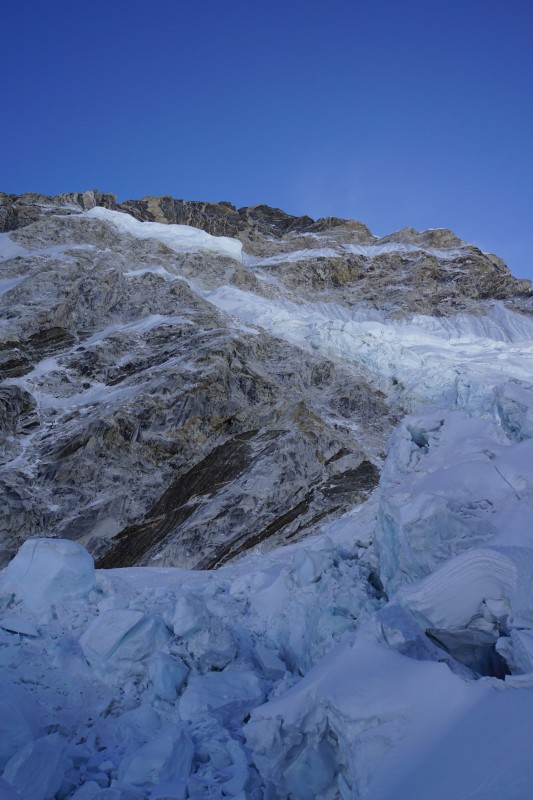 The Tragic Ice face, which calved off and killed many Sherpa mountaineers in 2014. We are well to the right of this zone.