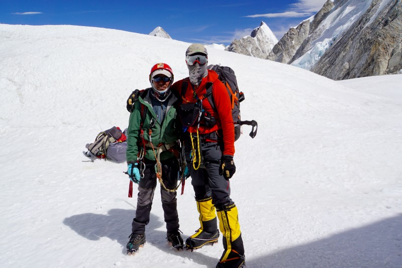 Me and Lakhpa Nuru, the amazing climbing Sherpa whom I worked with today.