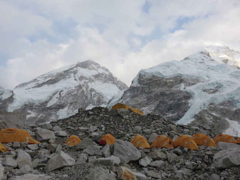 The Hybrid tents lined up, Everest West Shoulder and Nuptse looming above.  (Photo: Chris Hagerty)