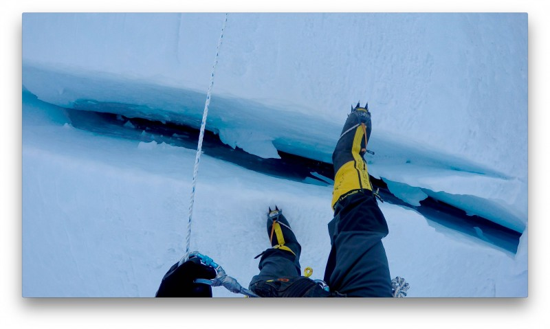 Some crevasses are deep, but easily stepped across. (GoPro screenshot)