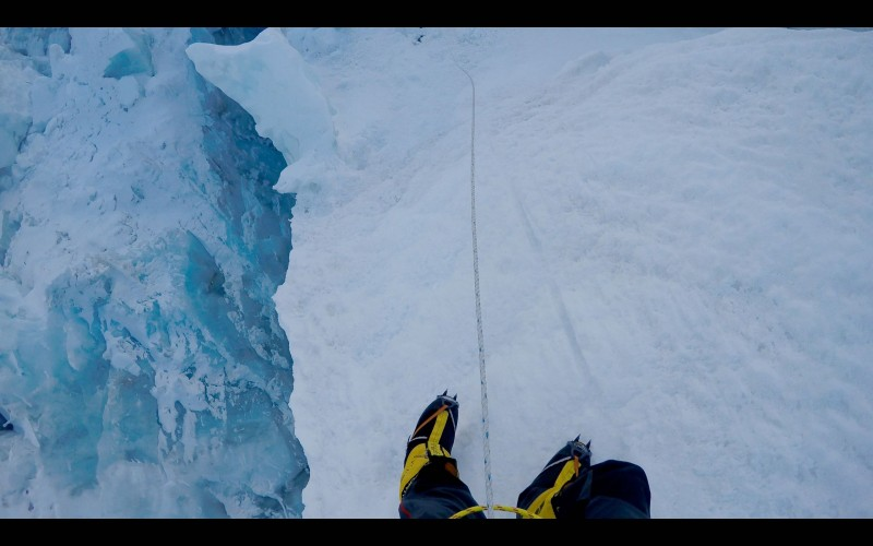 "Sometimes the route skirts big crevasses... we spend some time on top of ""ice fins"" that crisscross the route. (GoPro screenshot)"