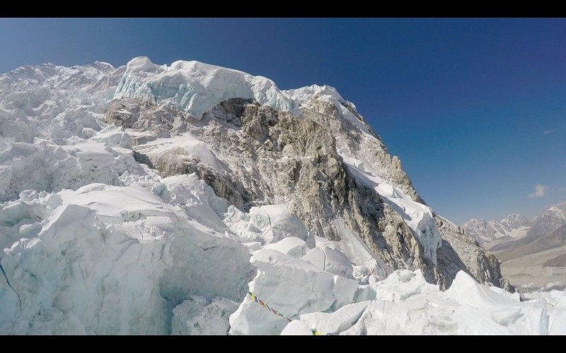 Nuptse looms over the Pit. (GoPro screenshot)