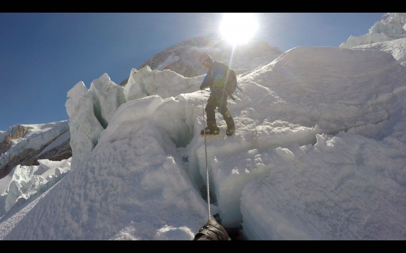 Ang Pemba descending the icefall. (GoPro screenshot)