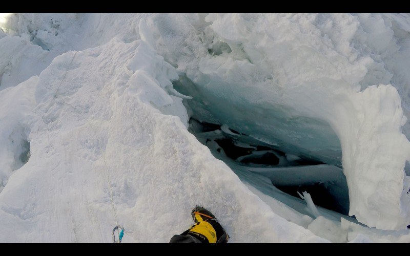 A big snow bridge makes crossing this crevasse a breeze. (GoPro screenshot)