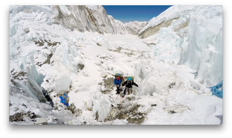 Pasang Kami and Siva scramble up some of the ice adjacent to Camp 2. (GoPro Screenshot)