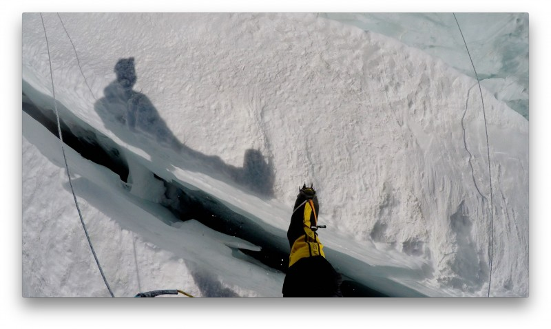 Easy steppin' onto an ice fin. (GoPro Screenshot)