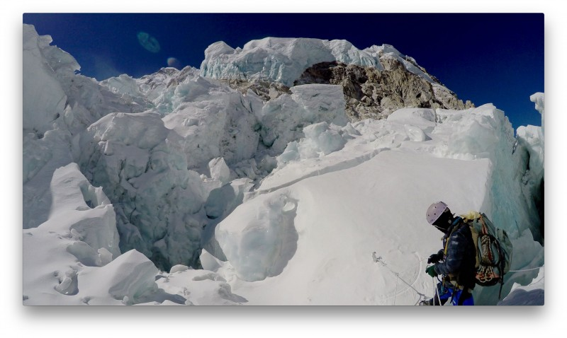Ang Pemba prepares to descend into the Pit. (GoPro Screenshot)