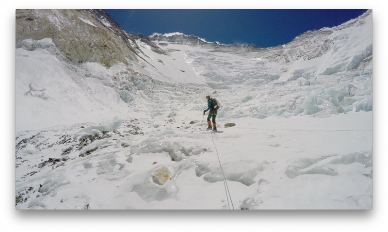 Justin leads us onto the high plateau of ice. We travel in traditional roped glacier style here. (GoPro Screenshot)