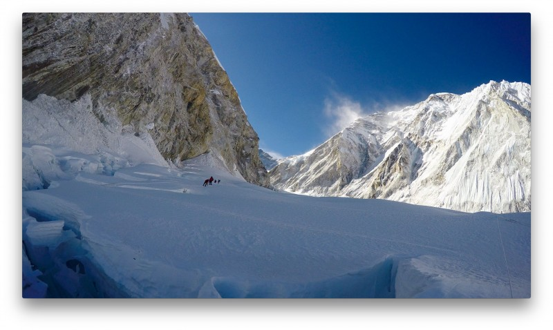 Looking back at the cwm as we approach the headwall. You can see the spindrift ripping off Nuptse... it was WINDY up there! (GoPro Screenshot)