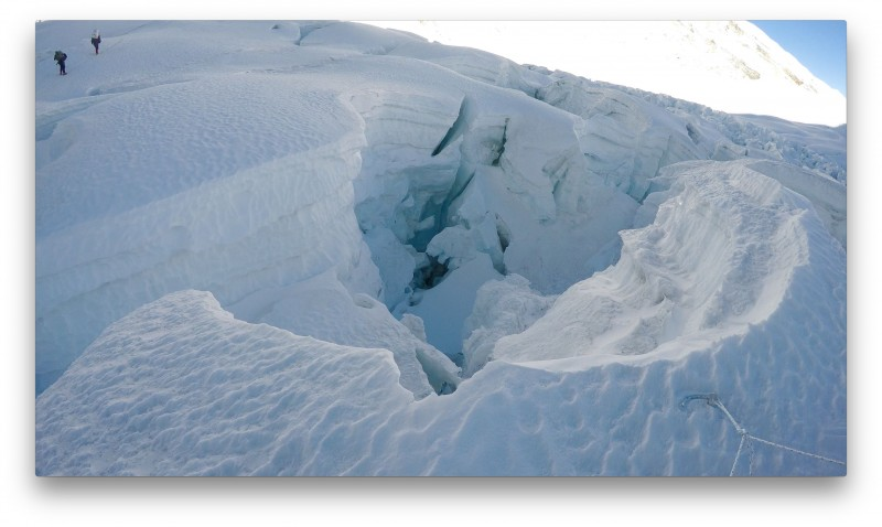 Monster crevasses form at the bottom of the cwm. (GoPro Screenshot)